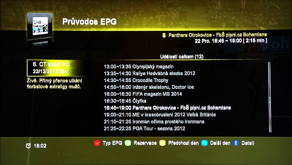 Denní EPG pro jeden program