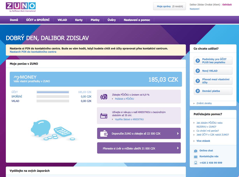 Internetové bankovnictví ZUNO Bank