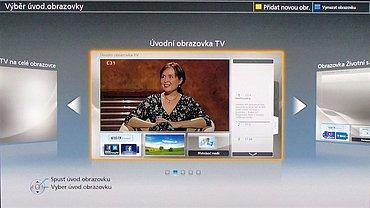 """Na závěr instalace si můžete vybrat z úvodní obrazovky, která se na televizoru objeví hned po zapnutí. K dispozici je několik druhů, včetně """"žádné domovské obrazovky"""", takže vybraný kanál rovnou najede na celý panel. Pokud si to později rozmyslíte, můžete ji snadno zaměnit za jinou. Stačí jen zmáčknout tlačítko Home."""