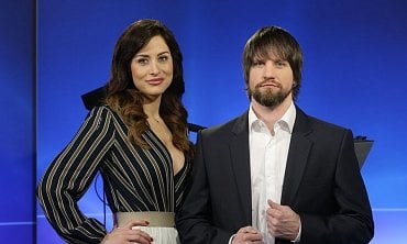 Moderátorská dvojice Alex Mynářová a Petr Kolář.