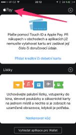 V aplikaci Wallet musíte vidět znak Apple. Jinak nebude Apple Pay fungovat.