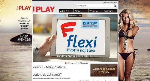 Příklad videoreklamy na jednom z webů televizní skupiny Prima