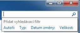 Filtr pro vyhledávání v Průzkumníku Windows