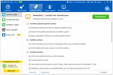 <p>Aplikace nabízí mnoho voleb pro optimalizaci systémových služeb, díky kterým se běh počítače zrychlí</p>