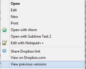 Dropbox vám umožní přistupovat k předchozím verzím souborů přímo z pracovní plochy vašeho počítače