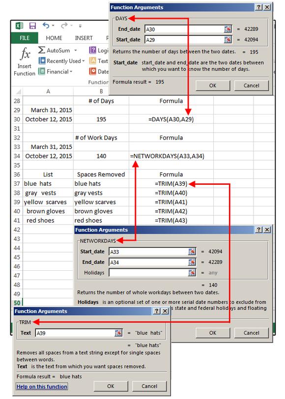 Práce s argumenty funkcí v programu MS Excel