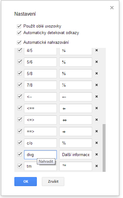google docs - nahrazeni
