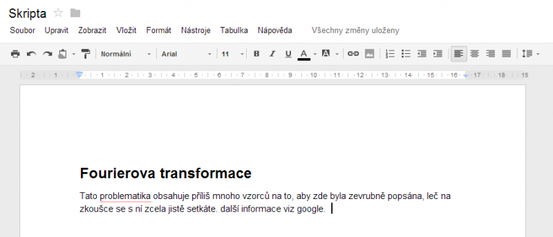 google docs - mezernik