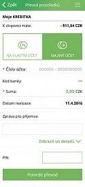 Převod peněz na účet prostřednictvím aplikace Kreditka.