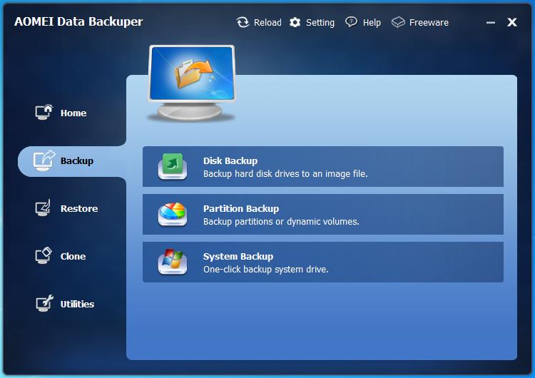 AOMEI Data Backuper nabízí snadnou cestu pro zálohování celých diskových jednotek jako obraz disku