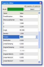 Fyzikální vlastnosti v panelu Property Editor.