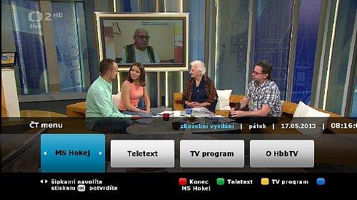 Hybridní vysílání HbbTV už nabízí i program ČT 2 HD