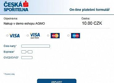 Ukázka dema platby kartou prostřednictvím agregátora plateb (AGMO)
