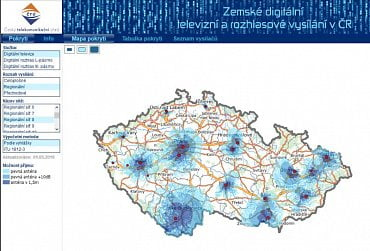 Regionální síť 8 - pokrytí  podle ČTÚ k 2. lednu 2018. Podrobnější mapa na odkazu níže.