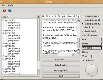 Nastavení stylů vykreslování widgetů, oken i dialogů v