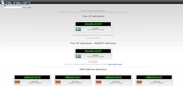 Ukázka analýzy z webu IPLeak.net