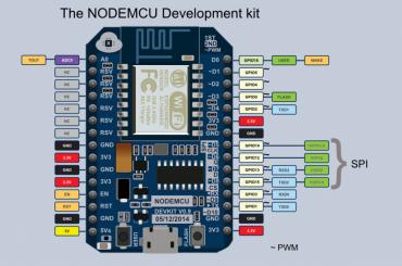 V1 - Prvotný projekt o vydanie NodeMCU dosky, veľmi dobré ohlasy, vďaka prevodníku CH340 nebol problém s inštaláciou ovládača pre klientský počítač.