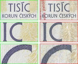 Tři různě velké detaily tiskového obrazce pravé bankovky a padělku