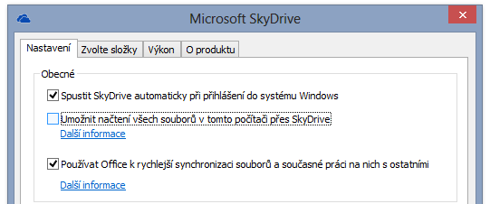 SkyDrive nastaveni