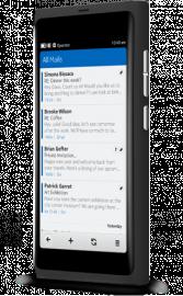 Rozhraní emailu v Nokia N9: čisté, jednoduché.