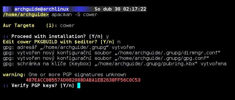 Arch: správci balíčků cower/pacaur/argon/burgaur
