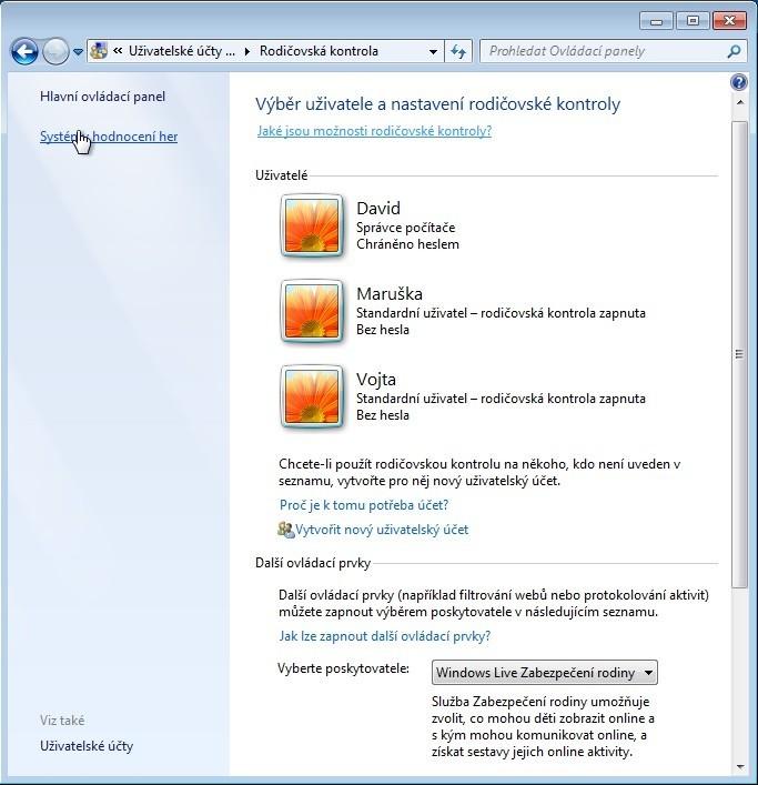 Možnosti rodičovské kontroly můžete ve Windows 7 použít k tomu, abyste nastavili, které operace mohou na počítači provádět jednotlivé uživatelské účty.