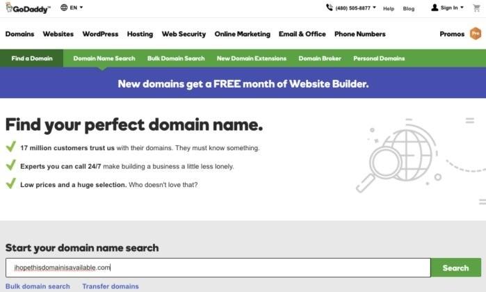 Pokud se chcete ujistit, že vámi vybraný doménový název není ještě obsazený, pak začněte vyhledáváním u některého registrátora domén, jako je například GoDaddy