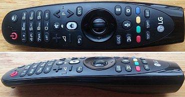 Tento jediný dálkový ovladač nahrazuje jak klasiku, tak tzv. Magic Remote, protože má v sobě i ovládání kurzoru pohybem ruky. Dá se nejen postavit na výšku, ale i šikovně položit na bok, takže se lépe bere do ruky, a to jak pravákovi, tak i levákovi.