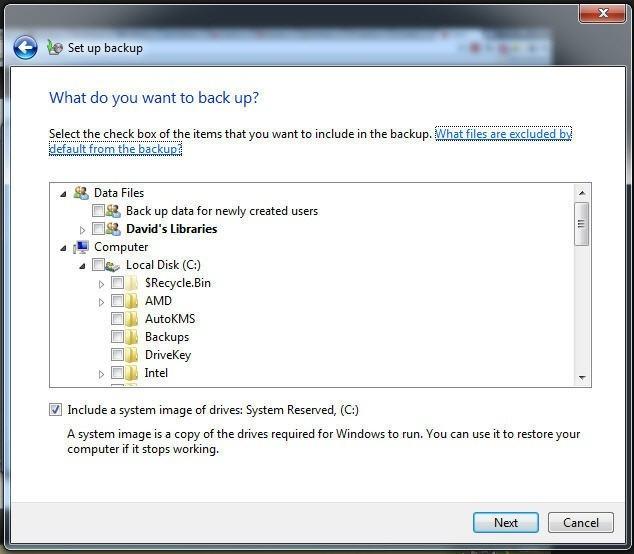 V tomto dialogovém okně si vyberte, které položky chcete zálohovat. Můžete ovšem nechat toto rozhodování i na operačním systému Windows 7