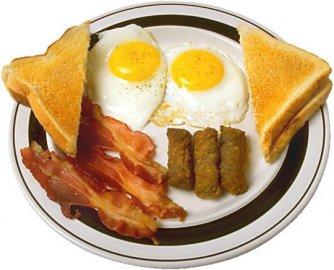 snídaně, vajíčka, šunka