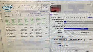 Intel Core i9-11900 v CPU-Z