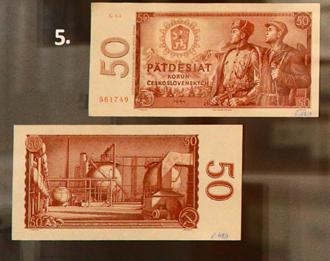 50 Kčs bankovka z roku 1964. Přední stranu vytvořil Václav Fiala, zadní stranu L. Jirka.
