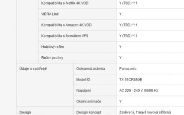 Z údajů o spotřebě se Panasonic na webových stránkách poněkud vyzul. Naštěstí byl přiložen energetický štítek…
