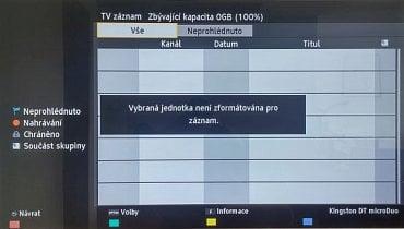 V nabídce multimédií najdete i volbu pro přehrání vašich nahrávek. Musíte mít ale připojen v televizoru zformátovaný a s televizorem spárovaný disk.