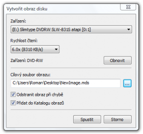<p>Při vytváření obrazu lze snížit rychlost čtení a výrazně tak ulevit počítači</p>