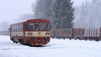 Vlak, České dráhy, sníh, zima