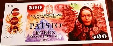 Fotokopie návrhu nevydané 500 Kčs bankovky od Albína Brunovského.
