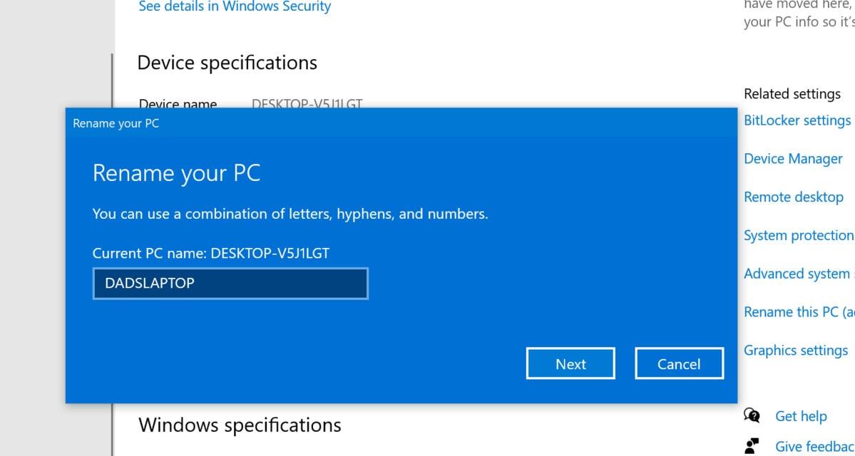 Možnosti pojmenování počítače jsou omezené