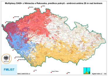 Multiplexy DAB+ z Německa a Rakouska, predikce pokrytí