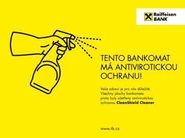 Raiffeisenbank dezinfikovala své bankomaty. (20.4.2020)