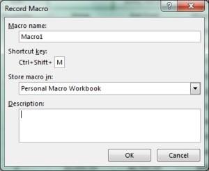 Dialogové okno pro záznam makra s vyplněnou klávesovou zkratkou pro jeho rychlé spuštění.