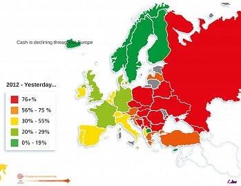 Používání hotovosti v Evropě před rokem 2014.