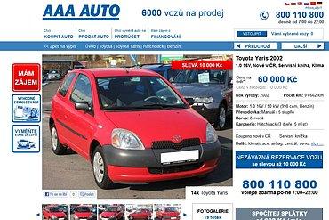 Původní nabídka prodeje vozidla na webu AAA Auto.