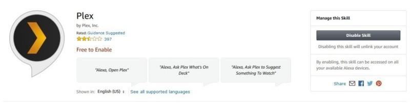Skill Plex pro asistentku Alexa