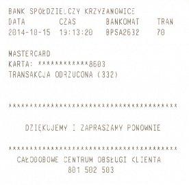 Z bankomatů v cizině vybírat opravdu nelze. Stvrzenka z ATM Bank Spółdzielczy, Polsko.