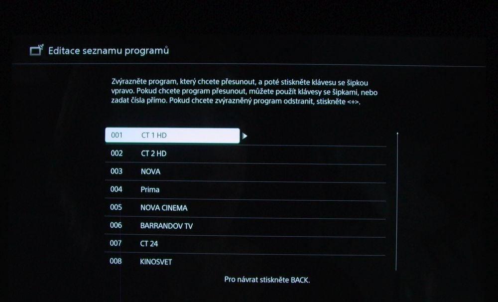 Sony KD-55XD8005-instalace - řazení kanálů