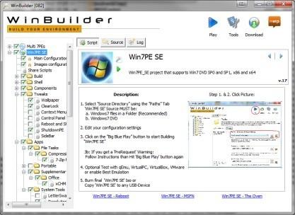 WinBuilder vytvoří live CD/DVD/USB Windows