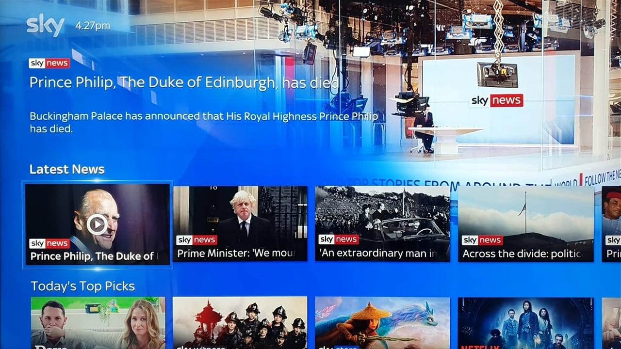 Ukázky předchozí generace uživatelského rozhraní Sky Q