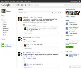 Základní obrazovka Google Plus rozložením připomíná Facebook