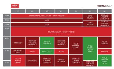 Programové schéma hlavní Novy pro podzim 2017.